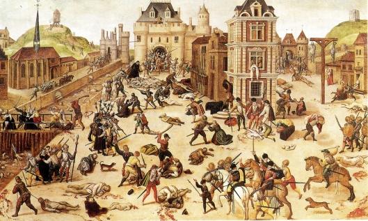 Πίνακας που απεικονίζει την σφαγή από τον Ουγενότο ζωγράφο François Dubois_στο βάθος δεξιά φαίνεται να κρέμεται από το παράθυρο το άψυχο σώμα του Κολινύ, ενώ στο βάθος αριστερά η Αικατερίνη των Μεδίκων (μαύρο φόρεμα) περιεργάζεται σωρό πτωμάτων_πηγή wikipedia