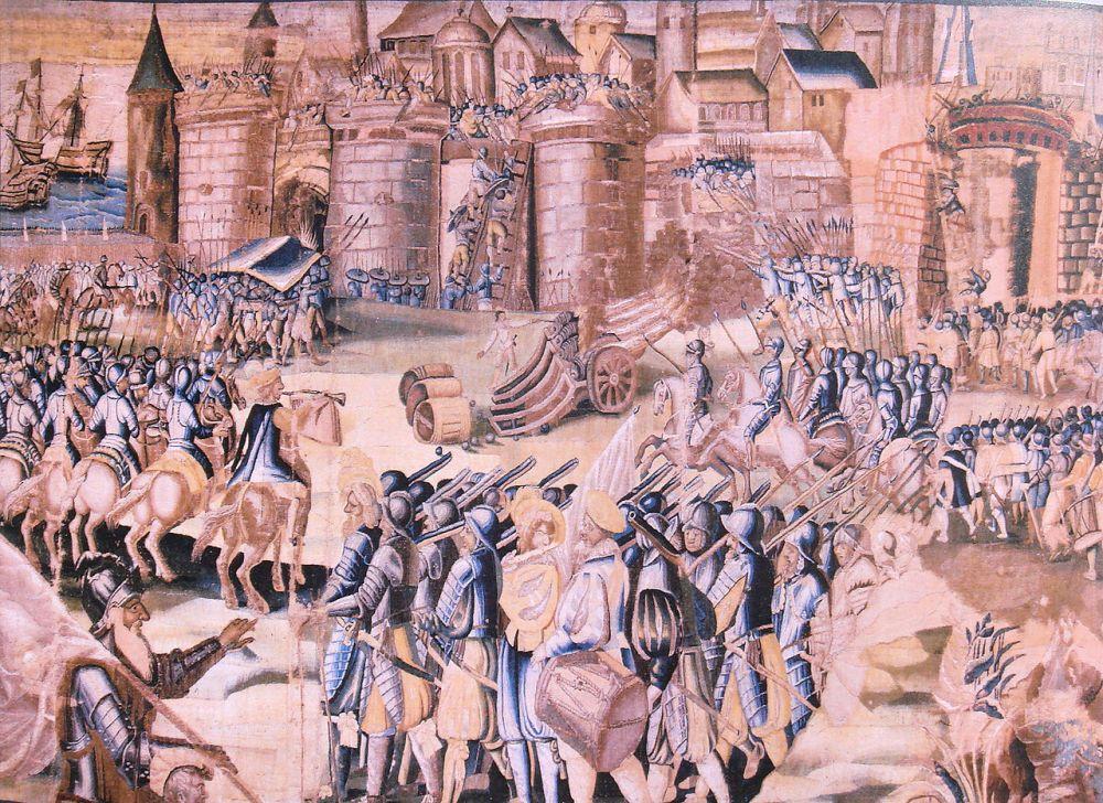 Η πολιορκία της Λα Ροσέλ η οποία ξεκίνησε μετά τις σφαγές (1572 - 1573).