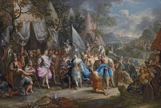 Η βασίλισσα των Αμαζόνων Θάληστρις, στο στρατόπεδο του Μ. Αλεξάνδρου. Ζωγραφικός πίνακας τεχνοτροπίας Ροκοκό από τον Johann Georg Platzer