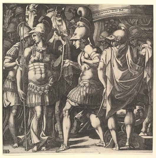 Ο Αλέξανδρος υποδέχεται την Θάληστρι._ Γκραβούρα φιλοτεχνημένη από τον Francesco Primaticcio_ Metropolitan Museum of Art - The Elisha Whittelsey Collection