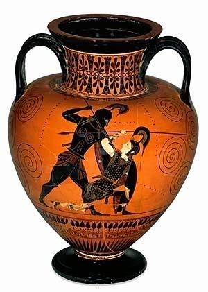 Ο Αχιλλέας σκοτώνει την Πενθεσίλεια. Έργο του Εξηκία. Ο αμφορέας χρονολογείται περί το 535-530 π. Χ _ Βρετανικό Μουσείο
