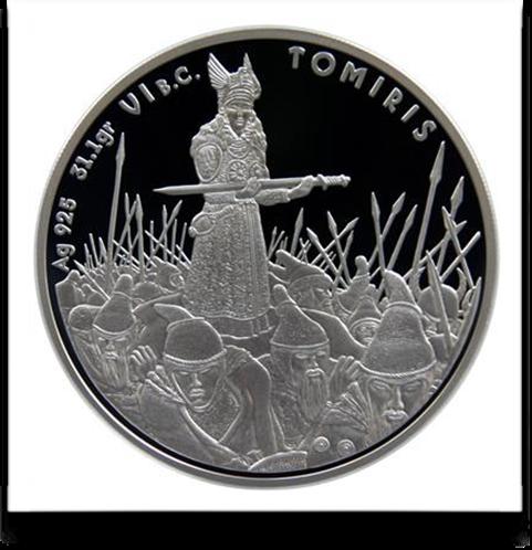 Βασίλισσα Των Μασσαγετών Τόμυρις_αναπαράσταση σε νόμισμα_Καζακστάν