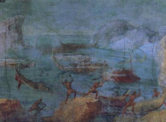 Οι Λαιστρυγόνες βομβαρδίζουν το πλοίο του Οδυσσέα_τοιχογραφία 1ου αιώνα π.Χ_πηγή wikipedia commons