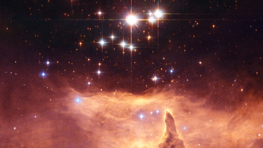 Pismis 24 The small open star cluster Pismis 24 contains extremely massive stars. The brightest object in the picture was once thought to weigh as much as 200 to 300 solar masses. This would have made it by far the most massive known star in the galaxy, and put it considerably above the currently believed upper mass limit of about 150 solar masses for individual stars. However, Hubble images show that it is really two stars, each 100 solar masses, orbiting one another.