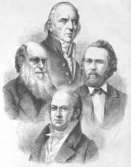 Οι τέσσερις μεγάλοι εξελικτικοί βιολόγοι του 19ου αιώνα, ο Ζαν Μπατίστ Λαμάρκ (πάνω, 1744-1829), ο Κάρολος Δαρβίνος (αριστερά, 1809-1882), ο Ερνστ Χέκελ (δεξιά, 1834-1919) και ο Ετιέν Ζοφρουά ντε Σεν Ιλέρ (κάτω, 1772-1844). Από το Die Gartenlaube (1873)