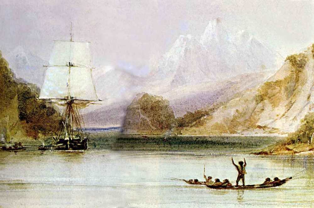 HMS Beagle in the seaways of Tierra del Fuego, painting by Conrad Martens during the voyage of the Beagle (1831-1836)