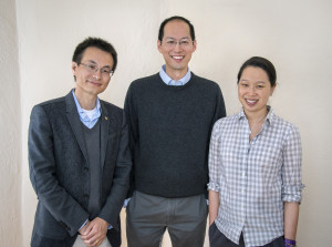 (From left) Peidong Yang, Christopher Chang and Michelle Chang led the development of an artificial photosynthesis system that can convert CO2 into valuable chemical products using only water and sunlight. (Photo by Roy Kaltschmidt)