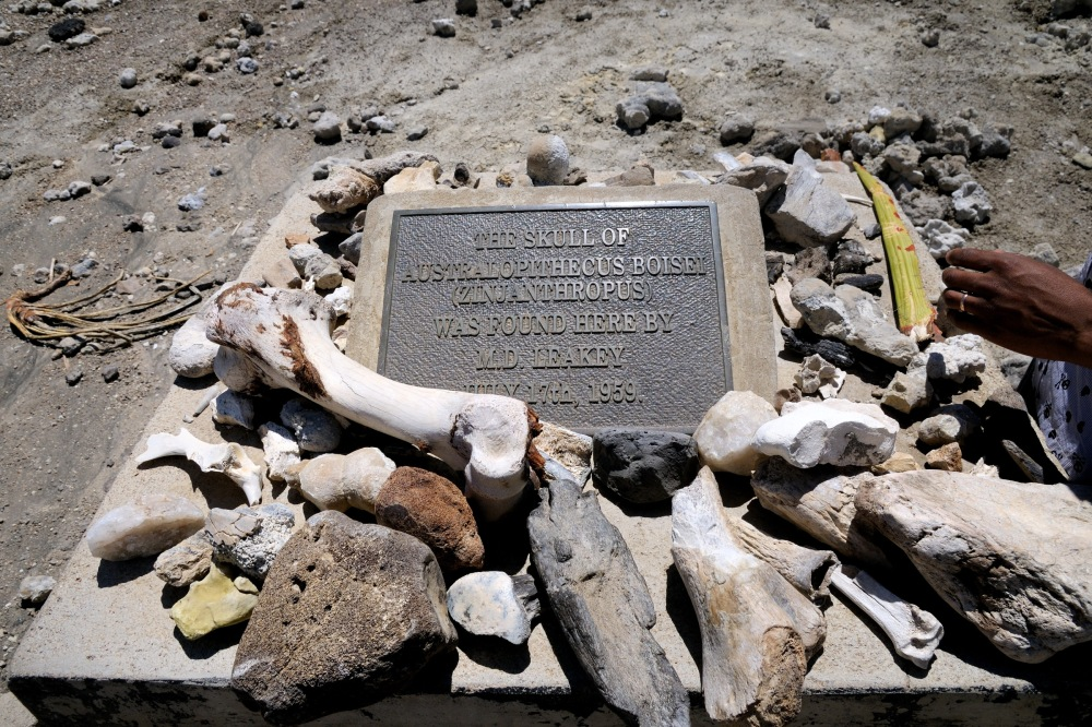 George Lamson / Marker for discovery of Australopithecus skull in Olduvi Gorge area in Tanzania-01 1-14-12