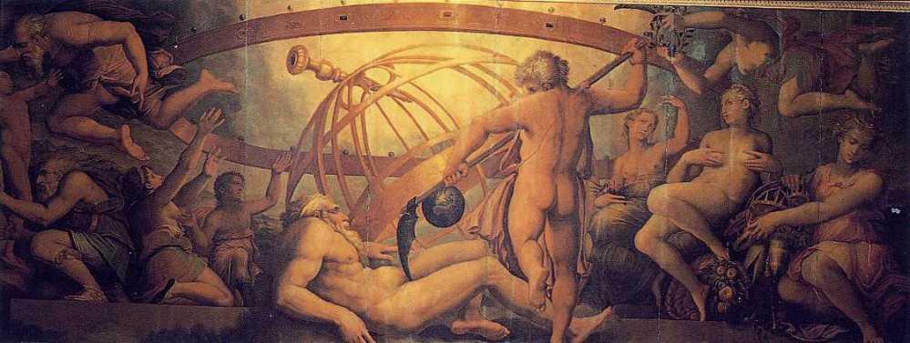 Ο ευνουχισμός του Ουρανού από τον Κρόνο_τοιχογραφία των Giorgio Vasari & Cristofano Gherardi_1560 _Sala di Cosimo I_Palazzo Vecchio