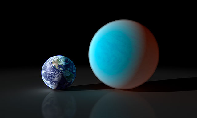 "This artists concept contrasts our familiar Earth with the exceptionally strange planet known as 55 Cancri e. While it is only about twice the size of the Earth, NASA's Spitzer Space Telescope has gathered surprising new details about this supersized and superheated world. Astronomers first discovered 55 Cancri e in 2004, and continued investigation of the exoplanet has shown it to be a truly bizarre place. The world revolves around its sun-like star in the shortest time period of all known exoplanets just 17 hours and 40 minutes. (In other words, a year on 55 Cancri e lasts less than 18 hours.) The exoplanet orbits about 26 times closer to its star than Mercury, the most Sun-kissed planet in our solar system. Such proximity means that 55 Cancri e's surface roasts at a minimum of 3,200 degrees Fahrenheit (1,760 degrees Celsius). The new observations with Spitzer reveal 55 Cancri e to have a mass 7.8 times and a radius just over twice that of Earth. Those properties place 55 Cancri e in the ""super-Earth"" class of exoplanets, a few dozen of which have been found. However, what makes this world so remarkable is the resulting low density derived from these measurements. The Spitzer results suggest that about a fifth of the planet's mass must be made of light elements and compounds, including water. In the intense heat of 55 Cancri e's terribly close sun, those light materials would exist in a ""supercritical"" state, between that of a liquid and a gas, and might sizzle out of the planet's surface. Only a handful of known super-Earths, however, cross the face of their stars as viewed from our vantage point in the cosmos. At just 40 light years away, 55 Cancri e stands as the smallest transiting super-Earth in our stellar neighborhood. In fact, 55 Cancri is so bright and close that it can be seen with the naked eye on a clear, dark night. NASA/JPL-Caltech/R. Hurt (SSC) - http://planetquest.jpl.nasa.gov/image/15"