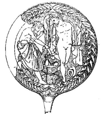 Ετρουσκικός καθρέπτης απεικονίζον τον Μαχάονα και τον Φιλοκτήτη