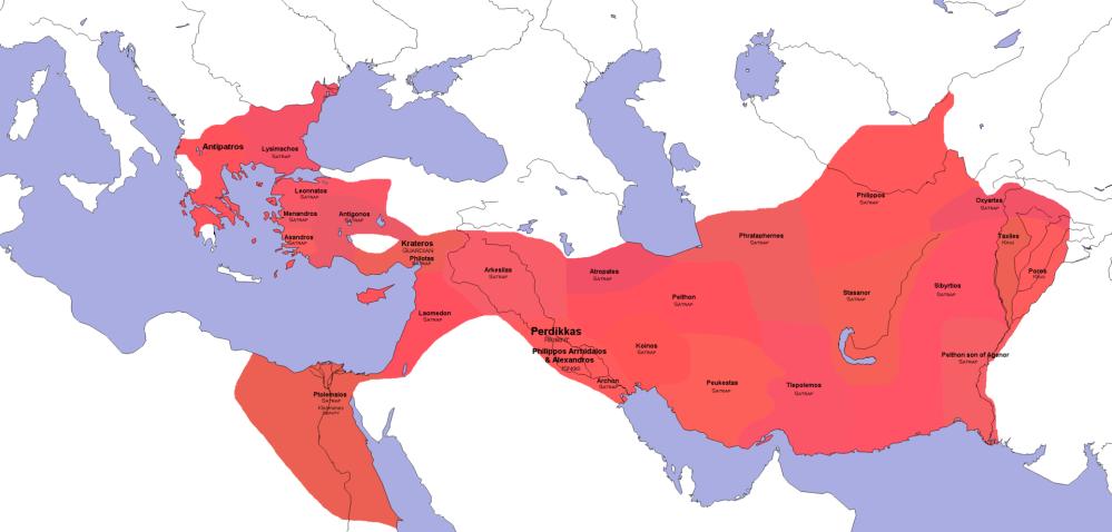Η κατανομή των σατραπειών της Μακεδονικής αυτοκρατορίας μετά την συνθήκη της Βαβυλώνας (323π.Χ)