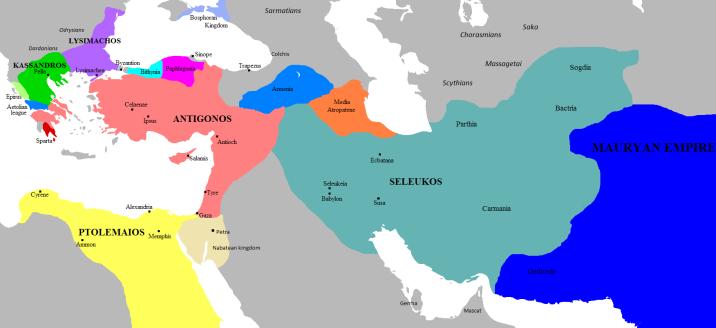 Τα βασίλεια του Αντιγόνου και των αντιπάλων του 303 π.Χ.