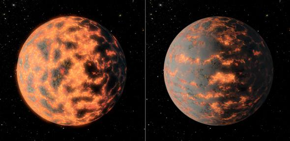 Artist's impression of super-Earth 55 Cancri e, showing a hot partially-molten surface of the planet before and after possible volcanic activity on the day side. Credit: NASA/JPL-Caltech/R. Hurt