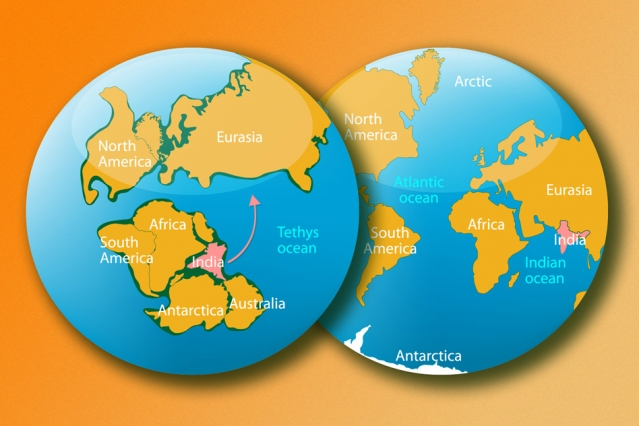 In this artist's rendering, the left image shows what Earth looked like more than 140 million years ago, when India was part of an immense supercontinent called Gondwana. The right image shows Earth today. Image: iStock (edited by MIT News)