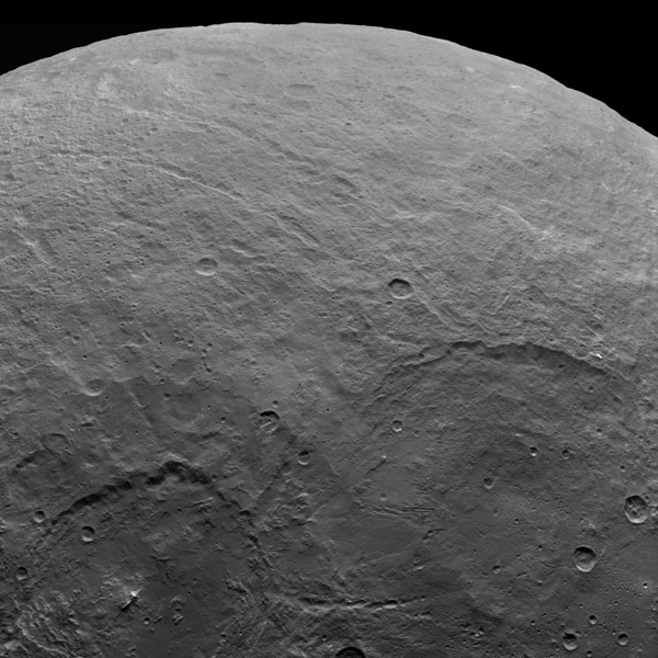 A variety of craters and other geological features can be found on dwarf planet Ceres. NASA's Dawn spacecraft took this image of Ceres from an altitude of 2,700 miles (4,400 kilometers). The image, with a resolution of 1,400 feet (410 meters) per pixel, was taken on June 5, 2015.