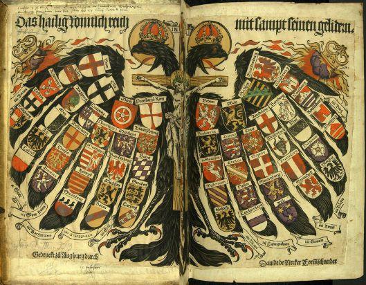 Θυρεός ο οποίος απεικονίζει τα κράτη της Αγίας Ρωμαϊκής Αυτοκρατορίας_χειροποίητη ξυλογραφίας 1510_πηγή wikimedia commons