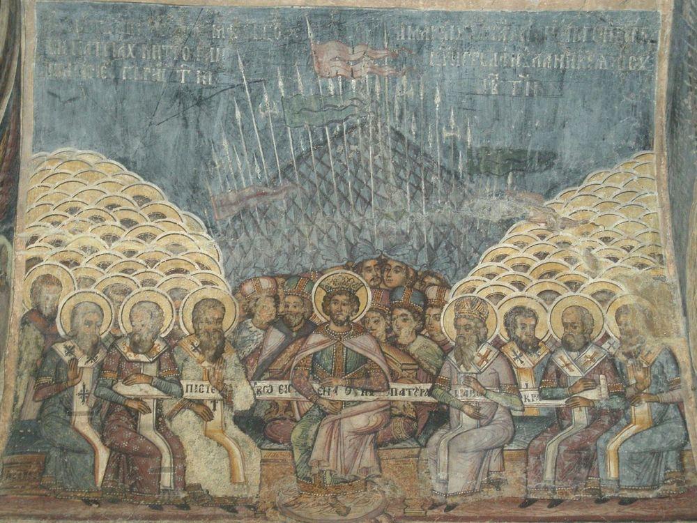 Η Πρώτη Σύνοδος της Νίκαιας, τοιχογραφία του 18ου αιώνα στον Ορθόδοξο Ναό Σταυροπόλεως στο Βουκουρέστι_πηγή wikipedia