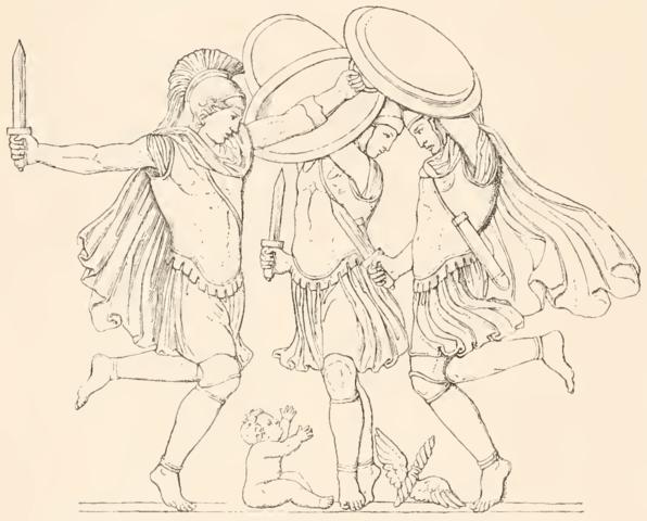 Κουρήτες χορεύουν γύρω από τον Δία (wikipedia)