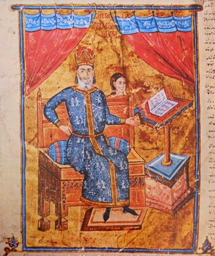 Ο Μέγας Δουξ Αλέξιος Απόκαυκος (1341-1345) στο έδρανό του.