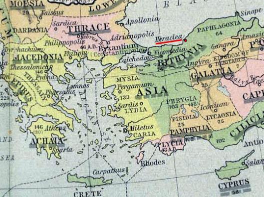 Χάρτης Ρωμαϊκής εποχής (264 π.Χ) με την Ηράκλεια υπογραμμισμένη (wikipedia)