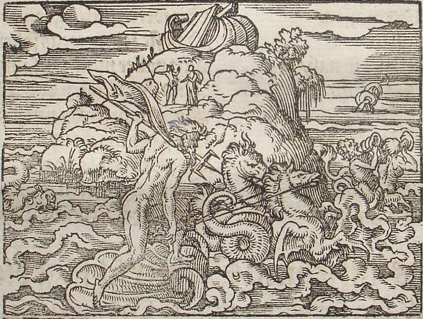 Ποσειδώνας ο βασιλέας των υδάτων, χαρακτική του Virgil Solis για το έργο του Οβιδίου, Μεταμορφώσεις (wikipedia)