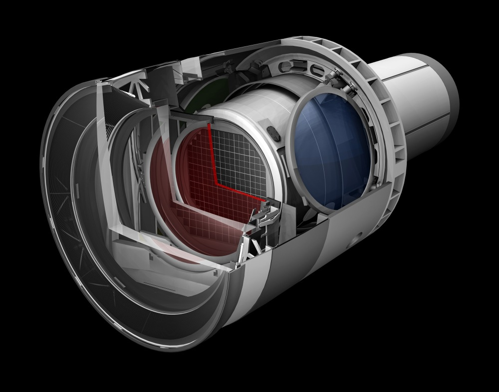 Rendering of the LSST camera. SLAC is leading the construction of the 3.2-gigapixel camera, which will be the size of a small car and weigh more than 3 tons. The digital camera will be the largest ever built, allowing LSST to create an unprecedented archive of astronomical data that will help researchers study the formation of galaxies, track potentially hazardous asteroids, observe exploding stars and better understand mysterious dark matter and dark energy, which make up 95 percent of the universe. (SLAC National Accelerator Laboratory)
