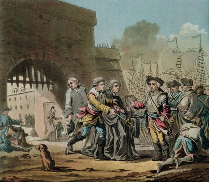 Βρετανική παράδοση της πόλης Μαντράς_πίνακας Jacques Francois Joseph Swebach 1769-1823