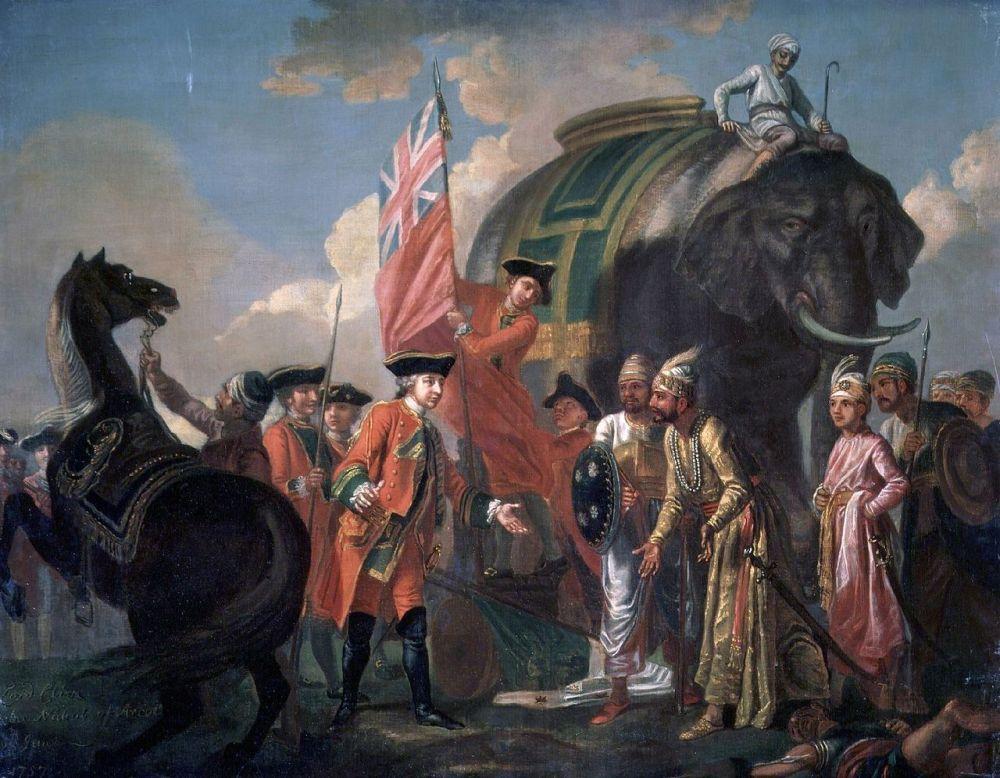 Ο Λόρδος Clive συναντά τον Mir Jafar μετά την μάχη του Plassey_ελαιογραφία_Francis Hayman_1762
