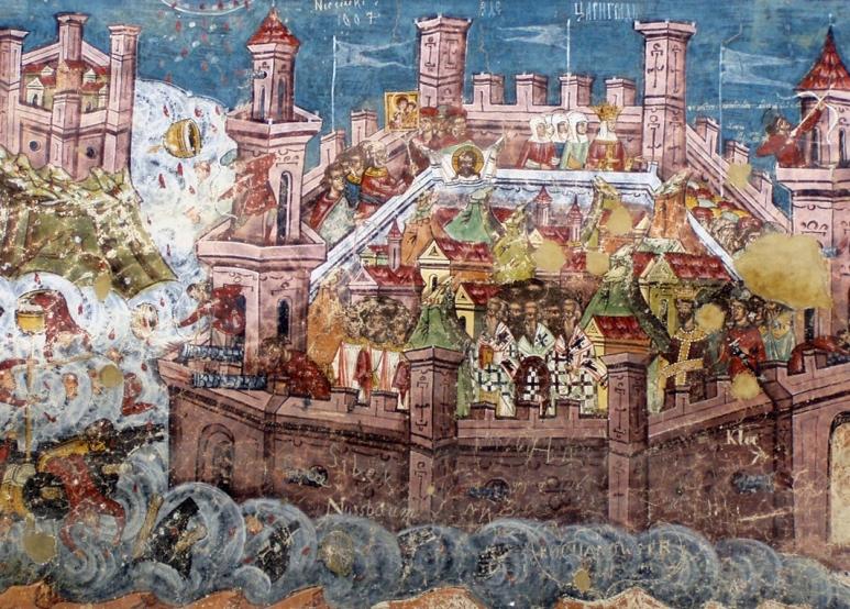 Νωπογραφία από άγνωστο καλλιτέχνη στην Εκκλησία της Μονής Moldoviţa απεικονίζει την άλωση της Κωνσταντινούπολης_ 1537_πηγή wikipedia