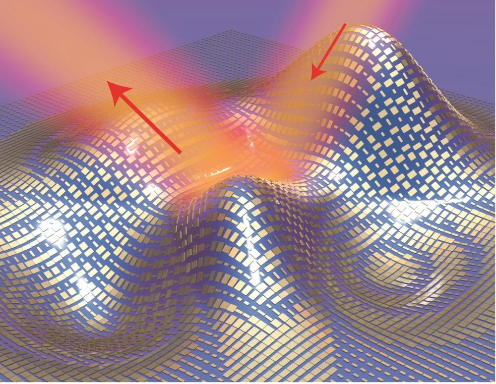 A 3D illustration of a metasurface skin cloak made from an ultrathin layer of nanoantennas (gold blocks) covering an arbitrarily shaped object. Light reflects off the cloak (red arrows) as if it were reflecting off a flat mirror.