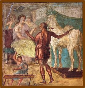 Δαίδαλος, Πασιφάη και ξύλινη αγελάδα σε Ρωμαϊκή τοιχογραφία στην Πομπηία [Casa dei Vettii (VI 15,1)] wikipedia