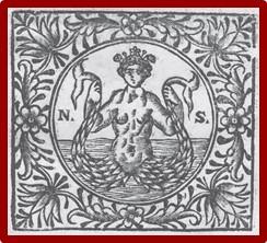 Η τυπογραφική σφραγίδα του Νικολάου Σάρου η οποία απεικονίζει τον Τρίτωνα, θαλάσσια θεότητα της Ελληνικής μυθολογίας._wikipedia