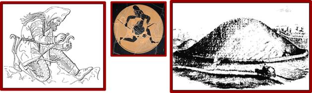 από αριστερά : Σκύθης πολεμιστής, Σκύθης τοξότης και τύμβος Kurgan factsanddetails.com Scythian history, warfare, religion and archeology