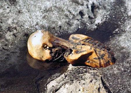 Ο άνθρωπος των πάγων Ötzi σε κατάσταση κατάψυξης στον παγετώνα, φωτο του Helmut Si-mon κατά την ανακάλυψη του σώματος τον Σεπτέμβριο 1991_wikipedia