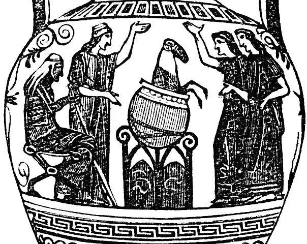 Το καζάνι αναζωογόνησης της Μήδειας_Ξυλογραφία από ερυθρόμορφο Ελληνικό αγγείο το οποίο χρονολογείται περί το 470 π.Χ. και εκτίθεται στο Βρετανικό μουσείο. Πρόκειται για την αρχαιότερη απεικόνιση της Μήδειας στην Ελληνική τέχνη η οποία την εμφανίζει δίπλα στην καθηλωτική χύτρα αναζωογόνησης, την ώρα που ξεπηδά ένα πρόβατο. Παρόμοια εικόνα συ-ναντάται και σε άλλες καλλιτεχνικές αναπαραστάσεις της εποχής. William Smith, A School Dictionary of Greek and Roman Antiquities (New York: Harper, 1873).