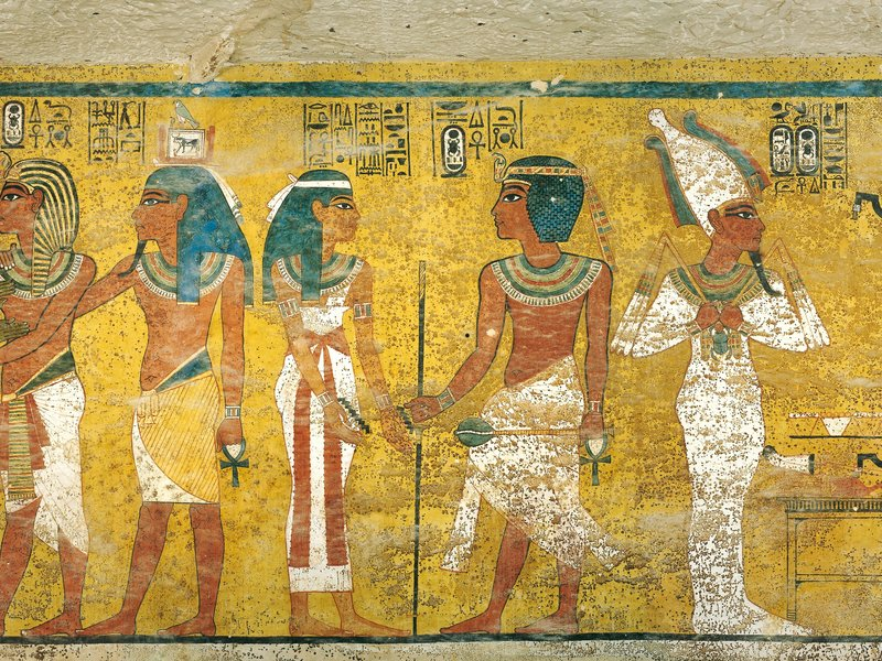 Wall painting from the tomb of Tutankhamun. (Sandro Vannini/Corbis)