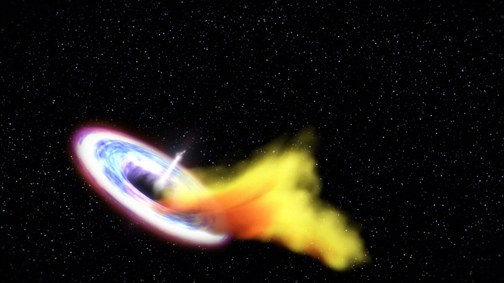 "Primary Image: This artist's impression shows a black hole consuming a star that has been torn apart by the black hole's strong gravity. As a result of this massive ""meal"" the black hole begins to launch a powerful jet that we can detect with radio telescopes. Credit: NASA/Goddard Space Flight Center/Swift."