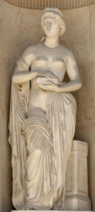 Άγαλμα της Πανδώρας του Pierre Loison (1816–1886) στην ανατολική πρόσοψη του Δικαστηρίου Carrée στο παλάτι του Λούβρου, στο Παρίσι.