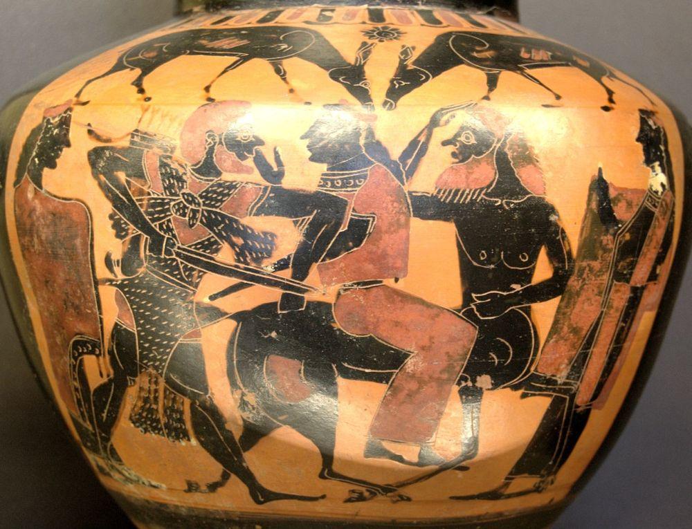 Ηρακλής - Διηάνειρα και Νέσσος, μελανόμορφη υδρία_575 - 550 π.χ_μουσείο Λούβρου_wikipedia