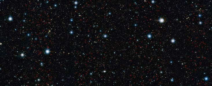 ESO's VISTA survey telescope has spied a horde of previously hidden massive galaxies that existed when the Universe was in its infancy. By discovering and studying more of these galaxies than ever before, astronomers have, for the first time, found out exactly when such monster galaxies first appeared.