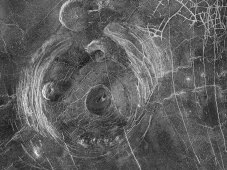 The concentric circles of Corona Fotla on Venus. (Image: Nasa/JPL/Magellan)