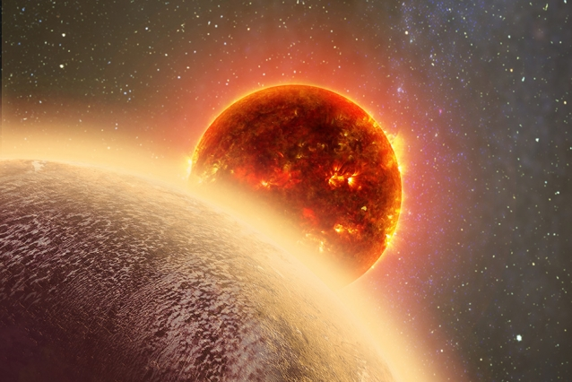 In this artist's rendering of GJ 1132b, a rocky exoplanet very similar to Earth in size and mass, circles a red dwarf star. GJ 1132b is relatively cool (about 450 degrees F) and could potentially host an atmosphere. At a distance of only 39 light-years, it will be a prime target for additional study with Hubble and future observatories like the Giant Magellan Telescope. Image: Dana Berry