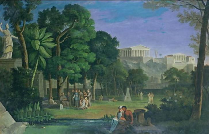 Στην είσοδο του Κήπου του Επίκουρου, υπήρχε η επιγραφή: «Ξένε, καλά θα κάνεις να μείνεις εδώ· εδώ το υψηλότερο αγαθό είναι η ευχαρίστηση». (Antal Strohmeyer «The Philosopher's Garden», Athens, 1834). Πηγή: Andro.gr [ http://www.andro.gr/empneusi/pws-mporoume-na-zhsoume-thn-kaluterh-dunath-zwh/ ]