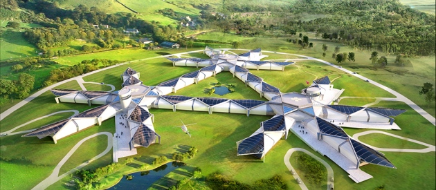 United Therapeutics/ Conceptual illustration of a pig farm capable of producing 1,000 organs for transplant per year. Centrally located operating theatres would have helipads for shipping fresh organs for transplant.