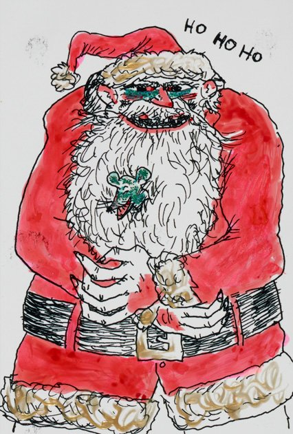 Beastly Santa (Warrington Colescott christmas card to Ray Gloeckler, 2000. Raymond Gloeckler papers, 1952-2008. Archives of American Art.)