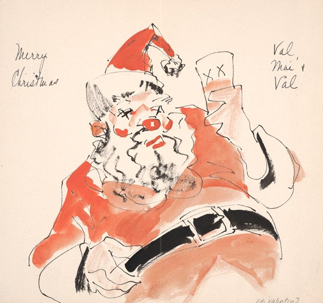 Boozy Santa (Edward Virginius Valentine to Milch Gallery, ca. 1920. Milch Gallery records, 1911-1980. Archives of American Art.)
