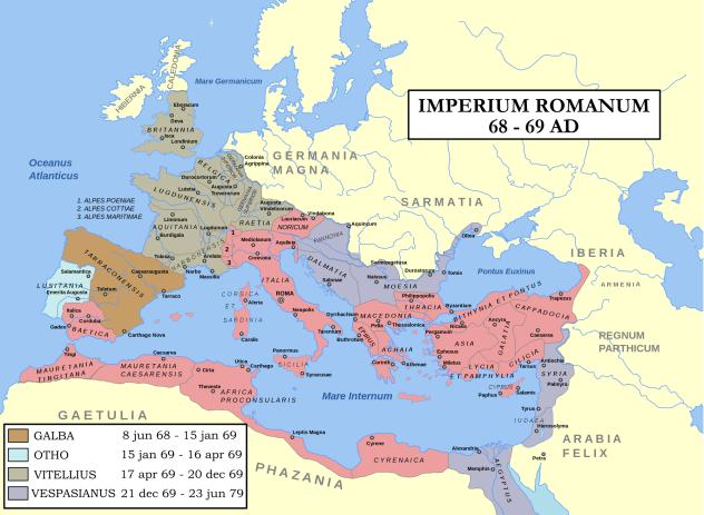 69 Στασιάζει η Ρωμαϊκή φρουρά του Μάϊντς.