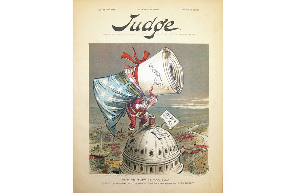 """The Chimney Is Too Small"", Dec 31, 1898 cover of Judge magazine (National Portrait Gallery)"