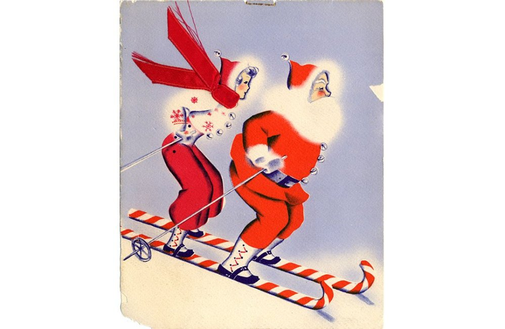 Mid-century Santa and Mrs. Claus on candy canes skis. (NMAH Archives Center, Warshaw Collection of Business Americana)